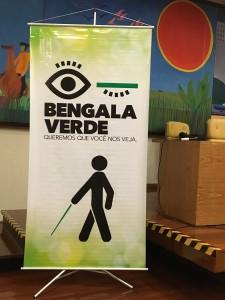 Foto do Banner como logo do projeto Bengala Verde e símbolo universal de pessoa com deficiência visual